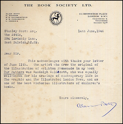 Book Society Letter From Alan Bott